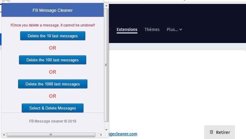 خطوات مسح رسائل فيسبوك بالطريقة السريعة (فايرفوكس):