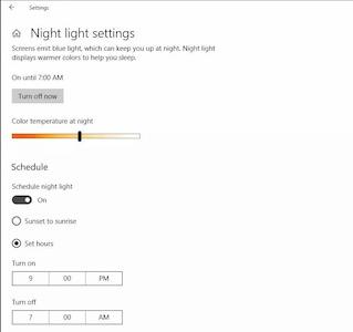 تفعيل الوضع الليلي في ويندوز 10- تفعيل خاصية Night light