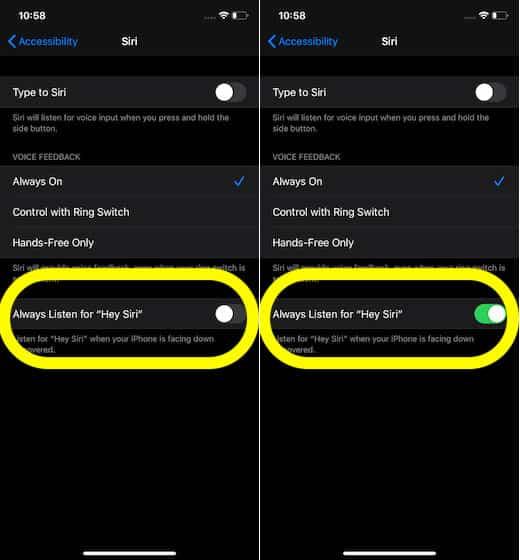 _طريقة تشغيل ميزة الاستماع دائمًا إلى Hey Siri