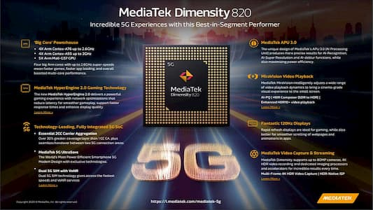 ميديا تك تكشف عن معالج جديد يسمى Dimension 820 SoC يدعم 5G