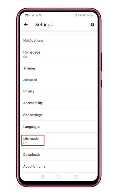 تفعيل موفر البيانات على متصفح كروم